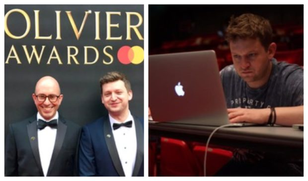 Paul and Christopher, left, at last years Olivier Awards and right, Chris hard at work at his production desk.