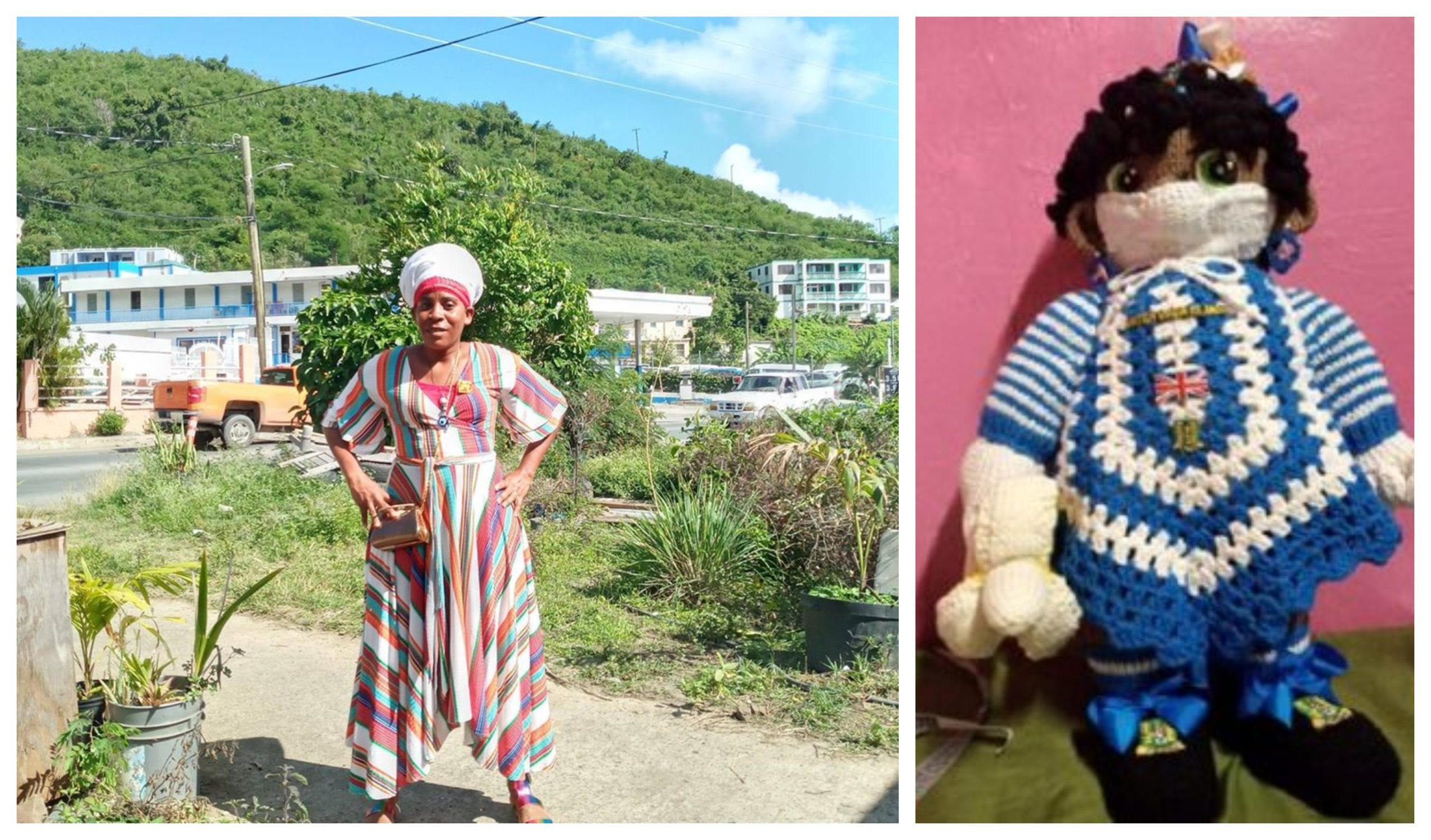 Kishmet at home on the British Virgin Islands and the doll knitted in the colours of the Scottish flag to say thank you.