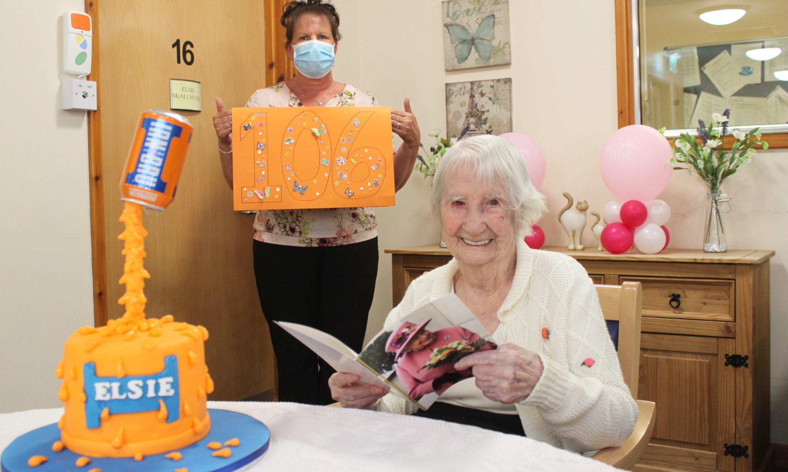 Elsie McAllister with Aileen Malone, senior carer at Turriff House on her 106th birthday last month.