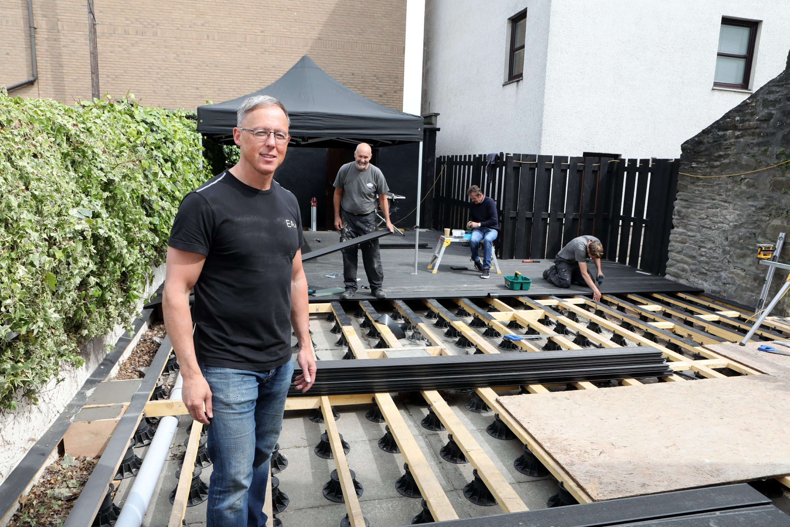 John Black of the Fort in Broughty Ferry getting his new beer garden ready for opening.
