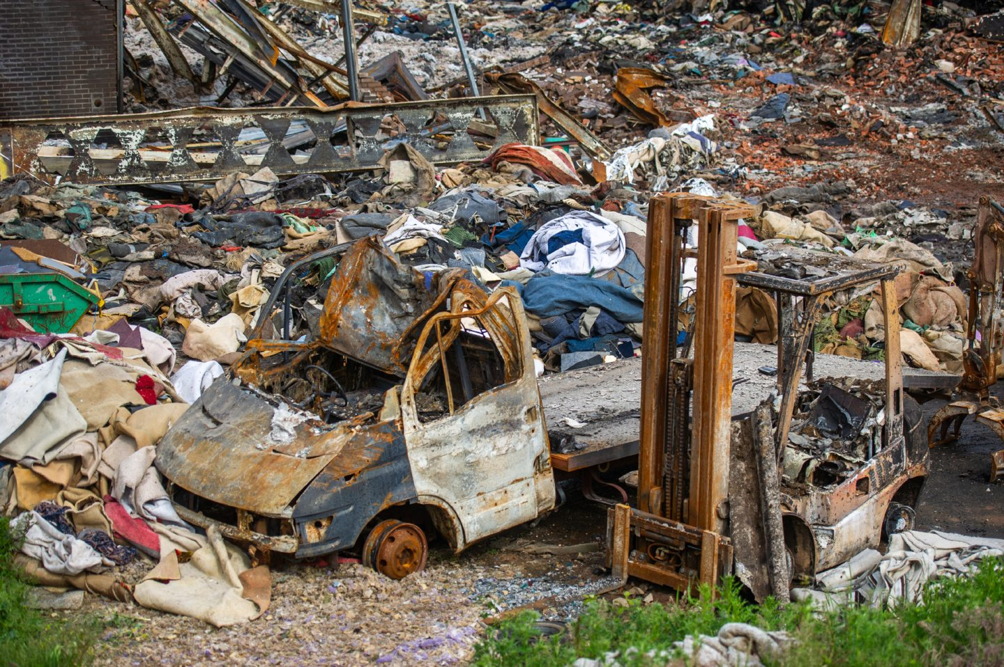 The remains of the industrial unit that was destroyed by fire on Baldovie Industrial Estate. (Picture: Kim Cessford/DCT Media.)
