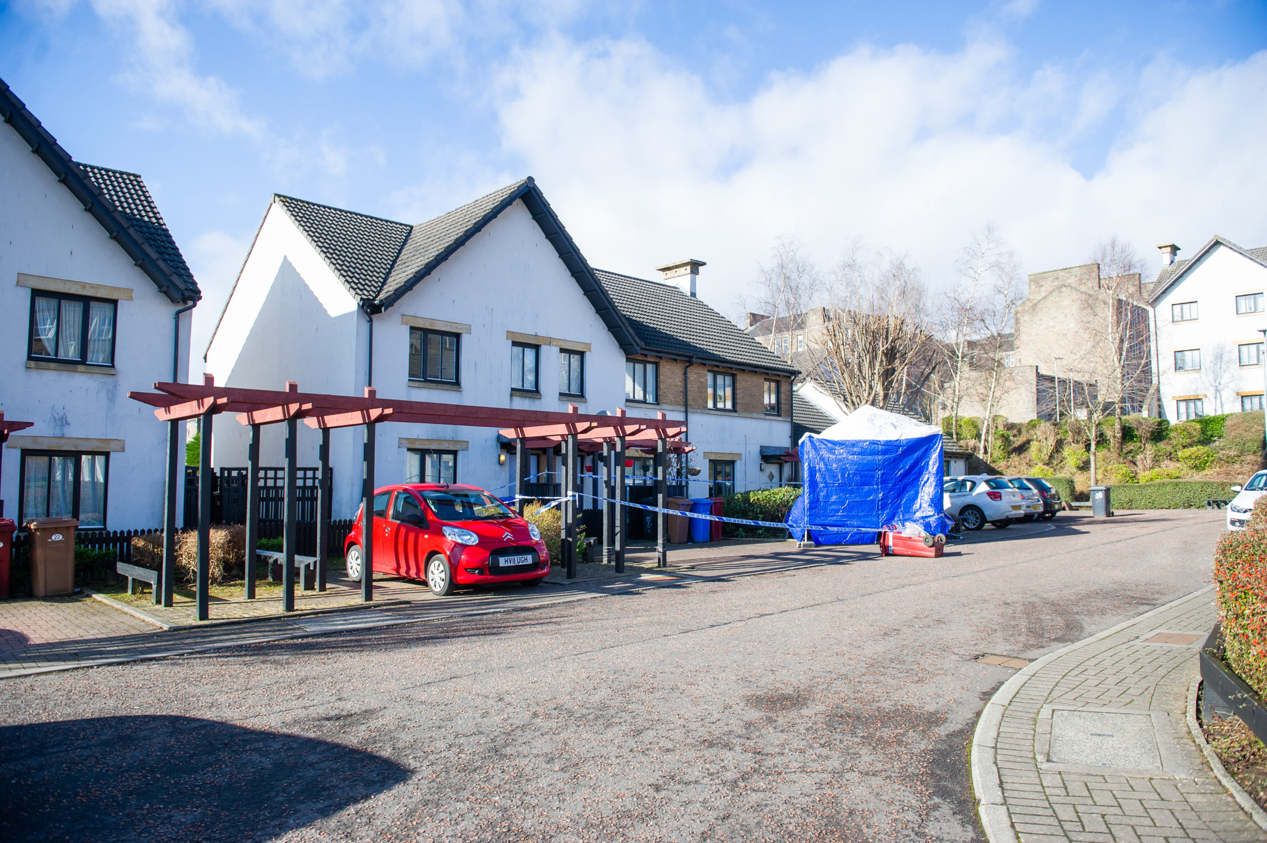 The scene at Benvie Gardens, following the incident.