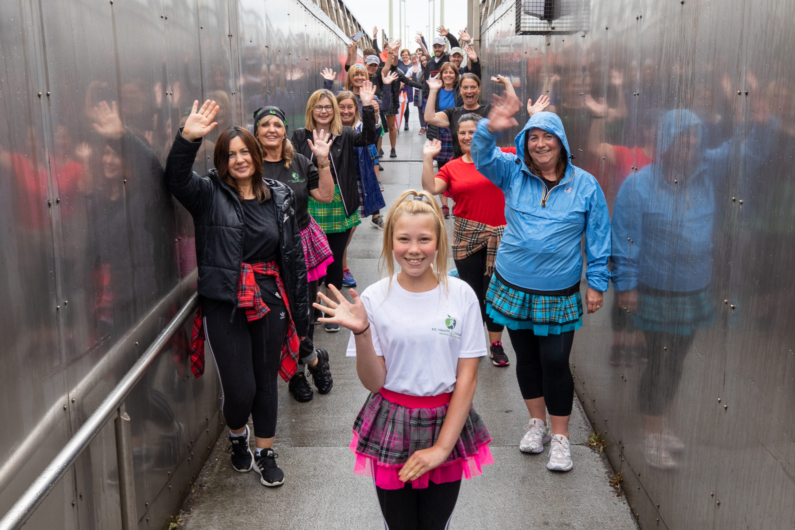 Picture shows; the team members in their kilts ready to take the challenges that Kelly Kyle has planned - with Kelly's daughter Erin in the foreground.
