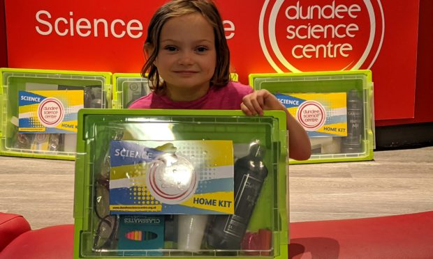 Roni Lemon, aged 6 – one of the 'helpers' who's been putting the boxes together.