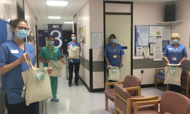The staff at Ninewells Hospital picked up their kindness bags.
