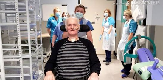 Bob Morning with staff at Ninewells Hospital.
