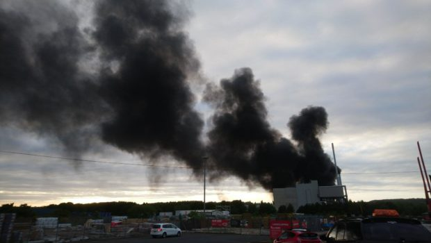 A huge plume of smoke could be seen from the building.