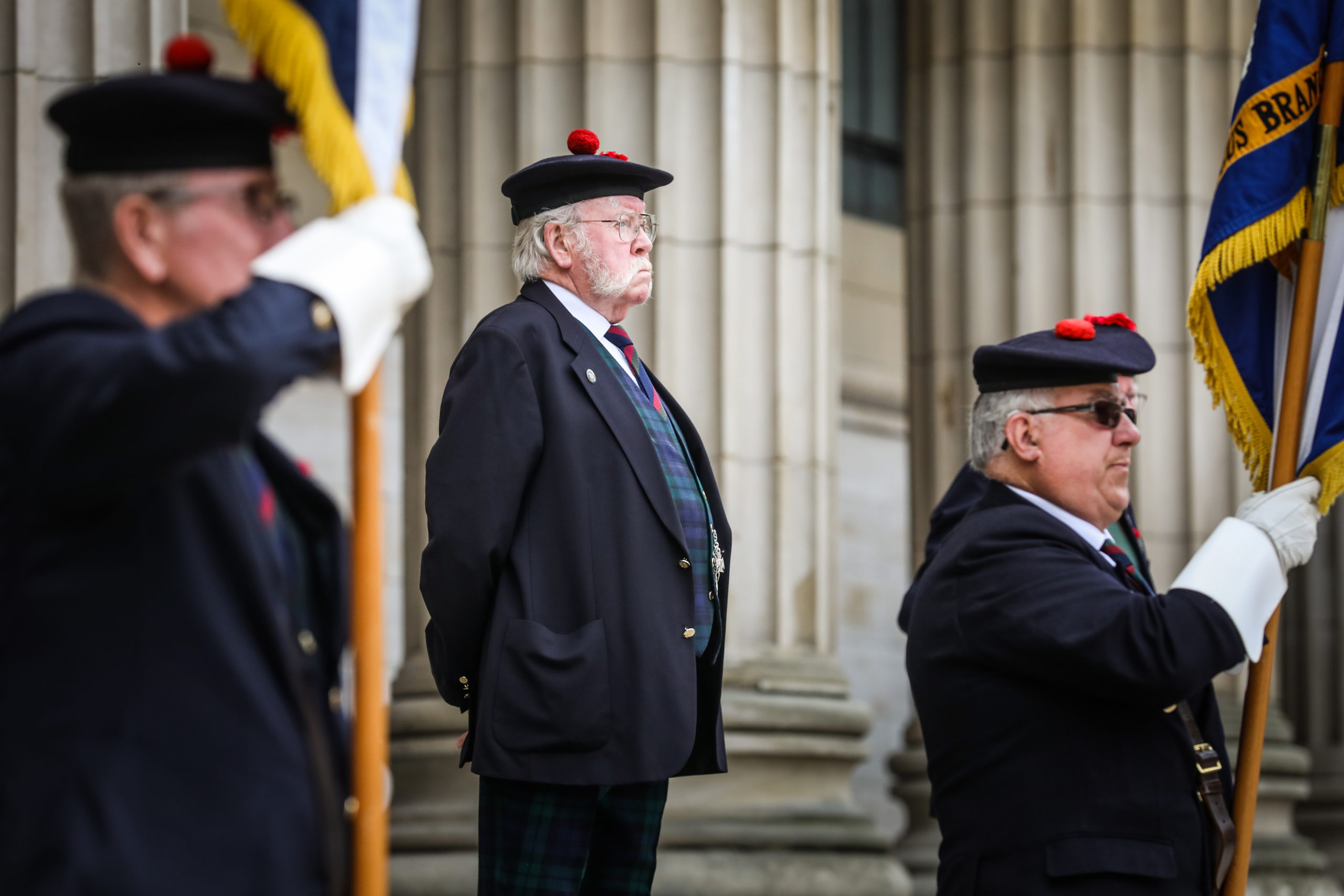 Joe Devlin from the Black Watch pays his respects.