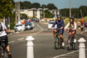 Cyclists in Broughty Ferry.