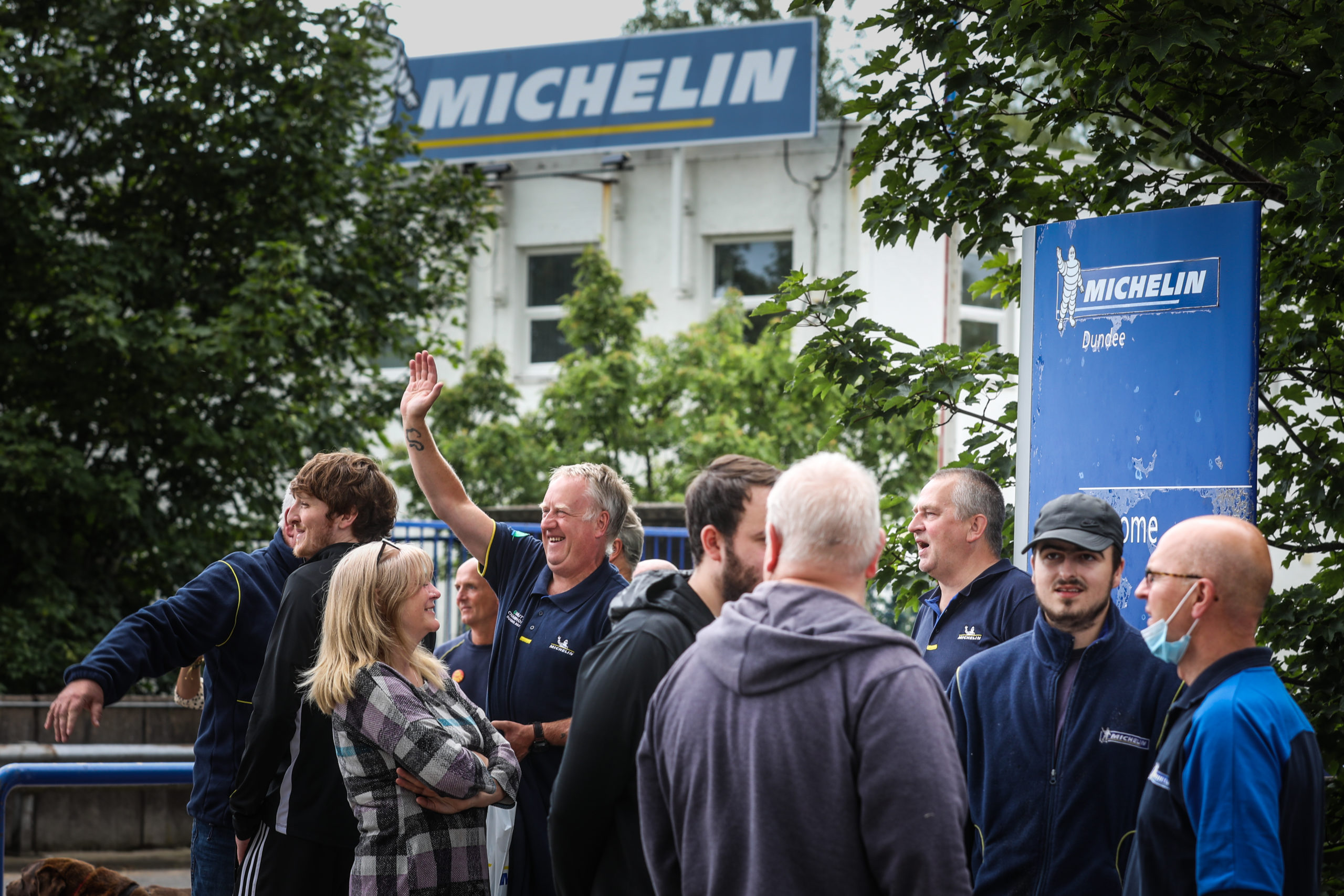 Employees of Michelin leave the gates for the last time today.