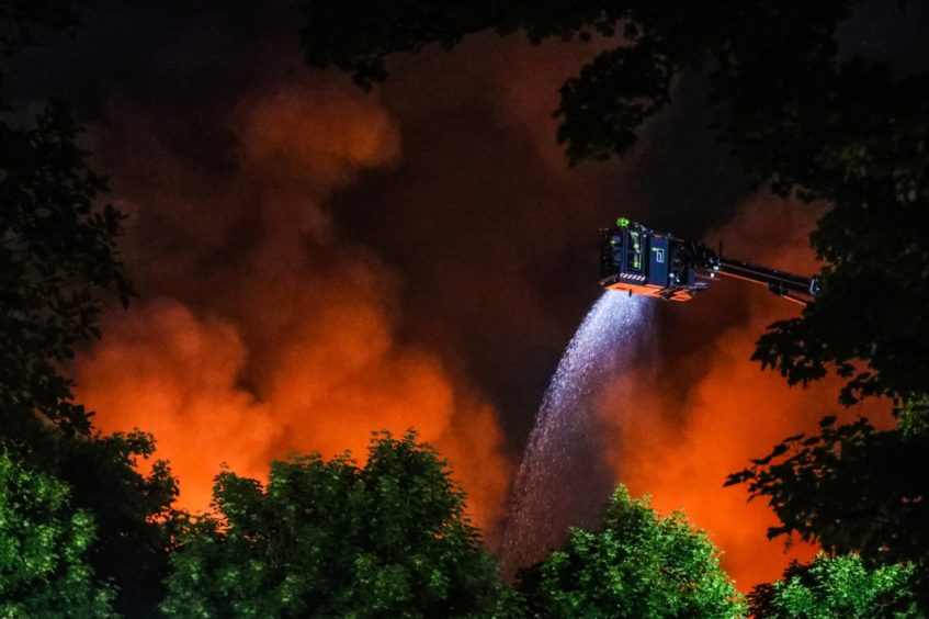 Firefighters battling the blaze on Sunday. (Picture: Mhairi Edwards/ DCT Media)