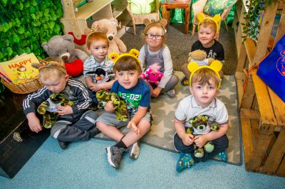 Some of the children with their worry bears.