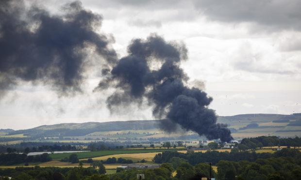 A photo of the Blairgowrie farm blaze.
