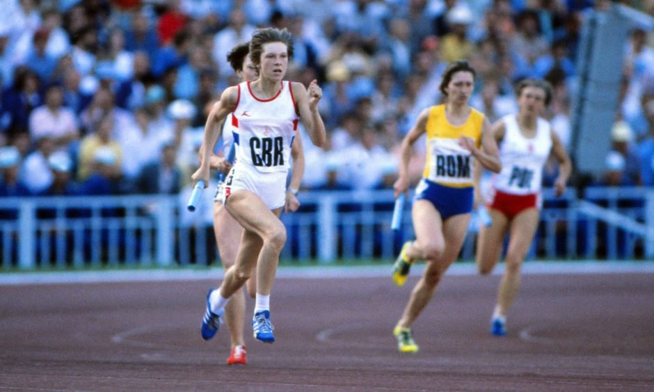 Linsey MacDonald runs the first leg in the Grand Arena of the Central Lenin Stadium in Moscow.