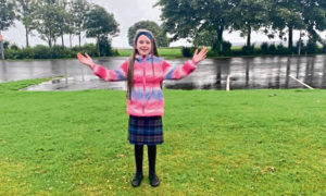 Catherine Letford age 8 from Dundee. Start of an 11-mile walk from Tayport to Monifieth.