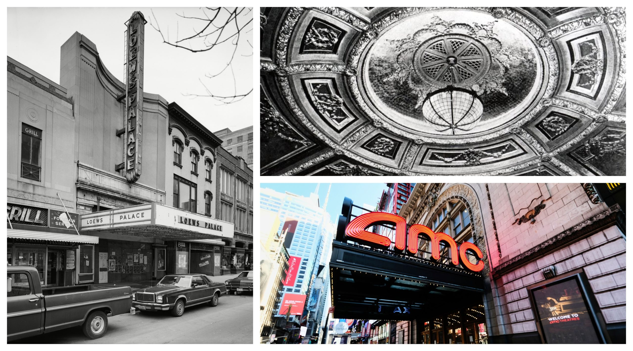 From left, clockwise: Loews Palace Theatre in Washington DC in 1917, the ceiling at the Winter Garden in Toronto, and the Empire Theatre in New York in its current use as the lobby of the AMC Empire 25 multiplex movie theatre.