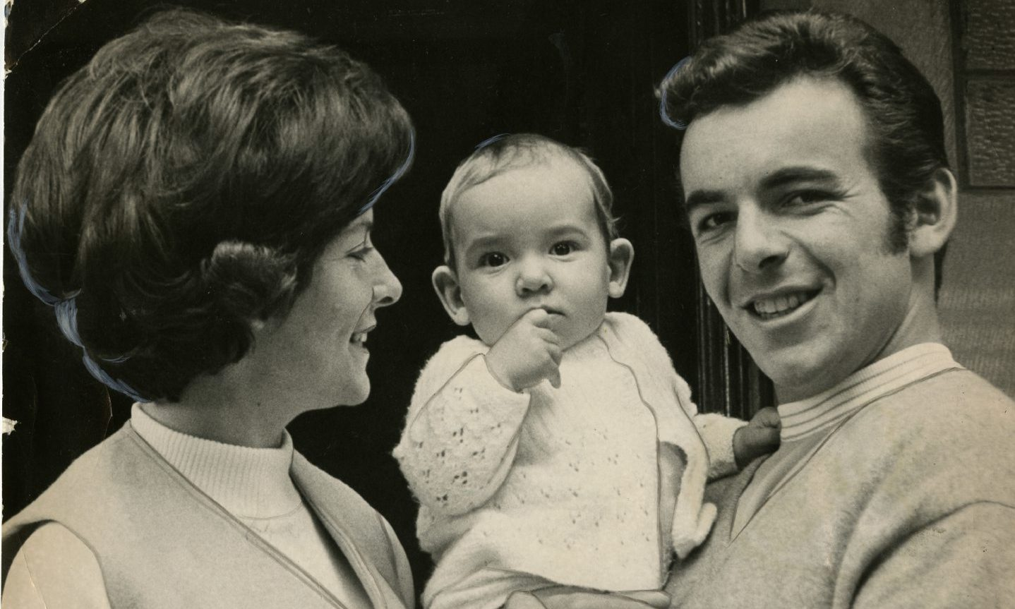 Tony Jacklin with his wife, Vivienne Jacklin and their son Bradley in 1970 where they were staying at the NCR guest house in Perth Road.