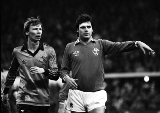 Derek Johnstone up against Dundee United's Davie Dodds in 1981 League Cup Final