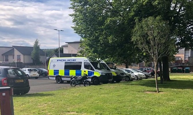 Police vans situated near Kirk Street on Sunday evening in connection with Saturday nights incident.