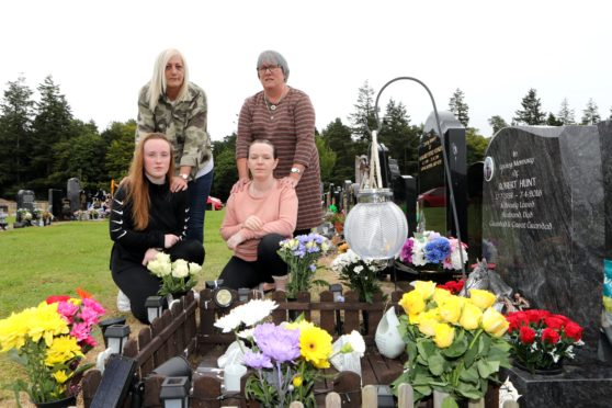 Morgan Grubb, Jane Hunt, Karen Longmuir & Lesley Nicoll at Jane's dads' grave which was daubed with white paint.