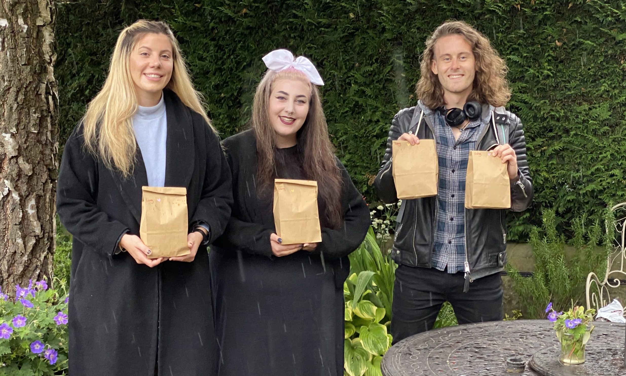 From left, Leah, Rosa and friend Conall Ross.