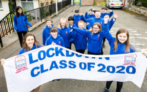 P7 pupils of Lundin Mill Primary School were waved off with a procession through Lundin Links.