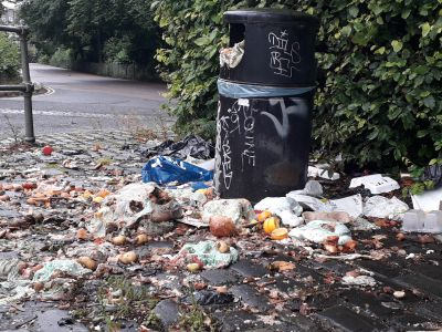 One of the overflowing bins in Dudhope Castle's car park.