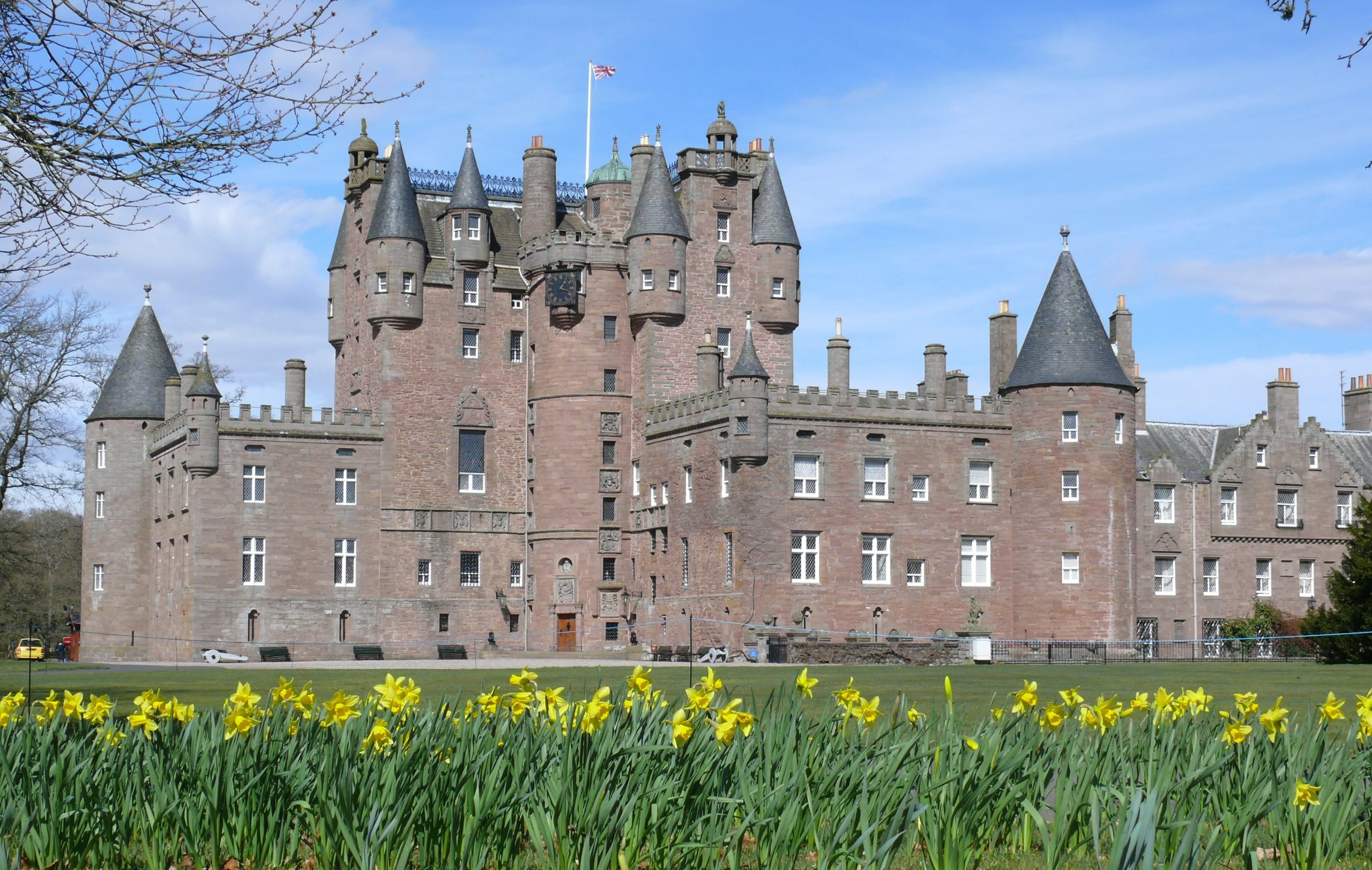 Glamis Castle, family home of Lord Glamis, Simon Bowes-Lyon, Earl of Strathmore and Kinghorne.