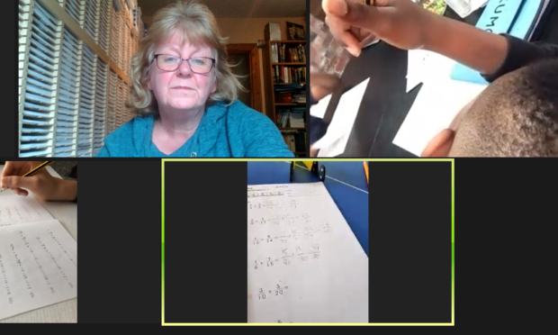 Eileen leading a group maths session on Zoom to Kumon Study Centre pupils.