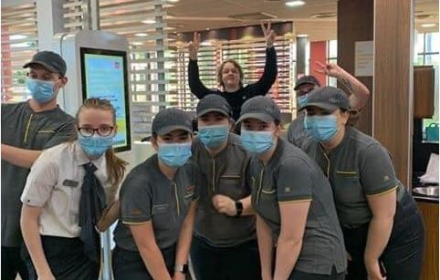 Lewis Capaldi with the Forfar McDonald's staff.