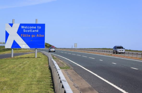 The 'Welcome to Scotland' sign where the M6 meets the A74, near Gretna Green on the border with England.