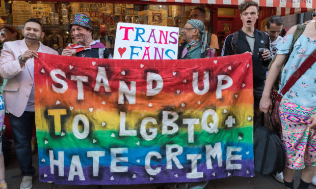 Mandatory Credit: Photo by Penelope Barritt/Shutterstock (10413320u) March and vigil from the Admiral Duncan pub in Soho to Trafalgar Square, against a 150% increase in anti-LGBT hate crime in the UK between 2014 and 2018. Stand Up to LGBTQ Hate Crime march, London, UK - 13 Sep 2019