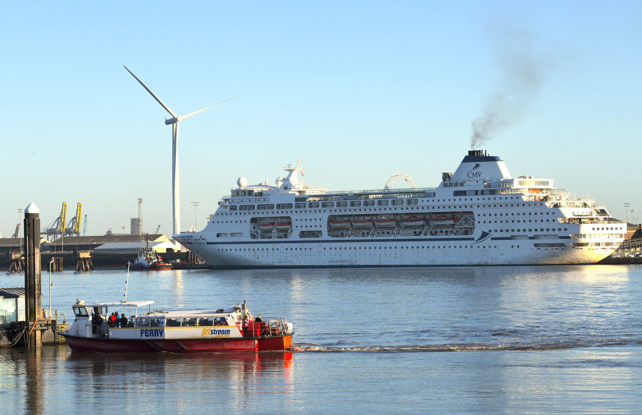 Image shows CMV cruise ship Columbus furloughed at London International Cruise Terminal.