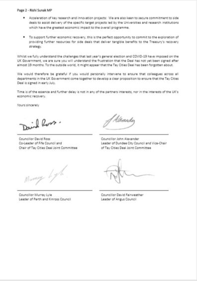 The letter sent and co-signed by the leaders of the four councils in the Tay Cities Deal region.