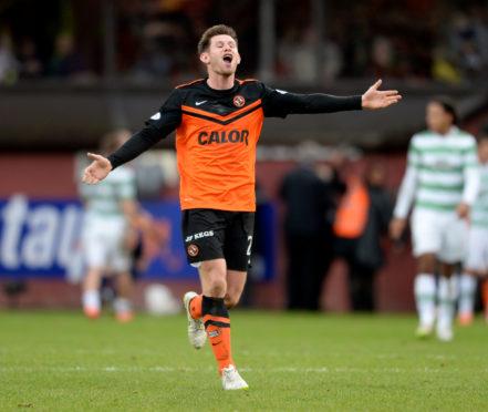 Calum Butcher's celebrates United's 2014 win over Celtic.