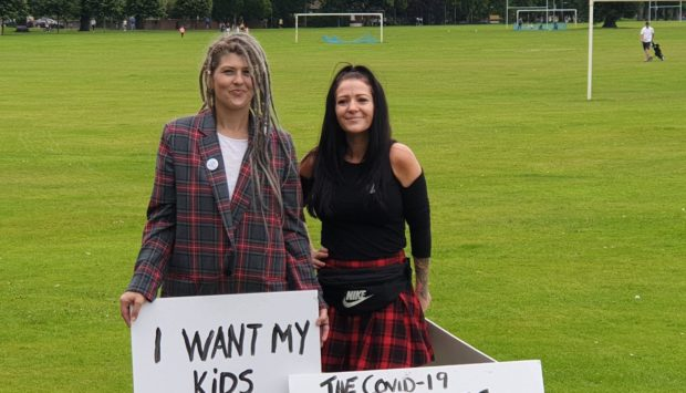 Yvonne Fenton and Lucy Santosha, who organised the demonstration in Perth.