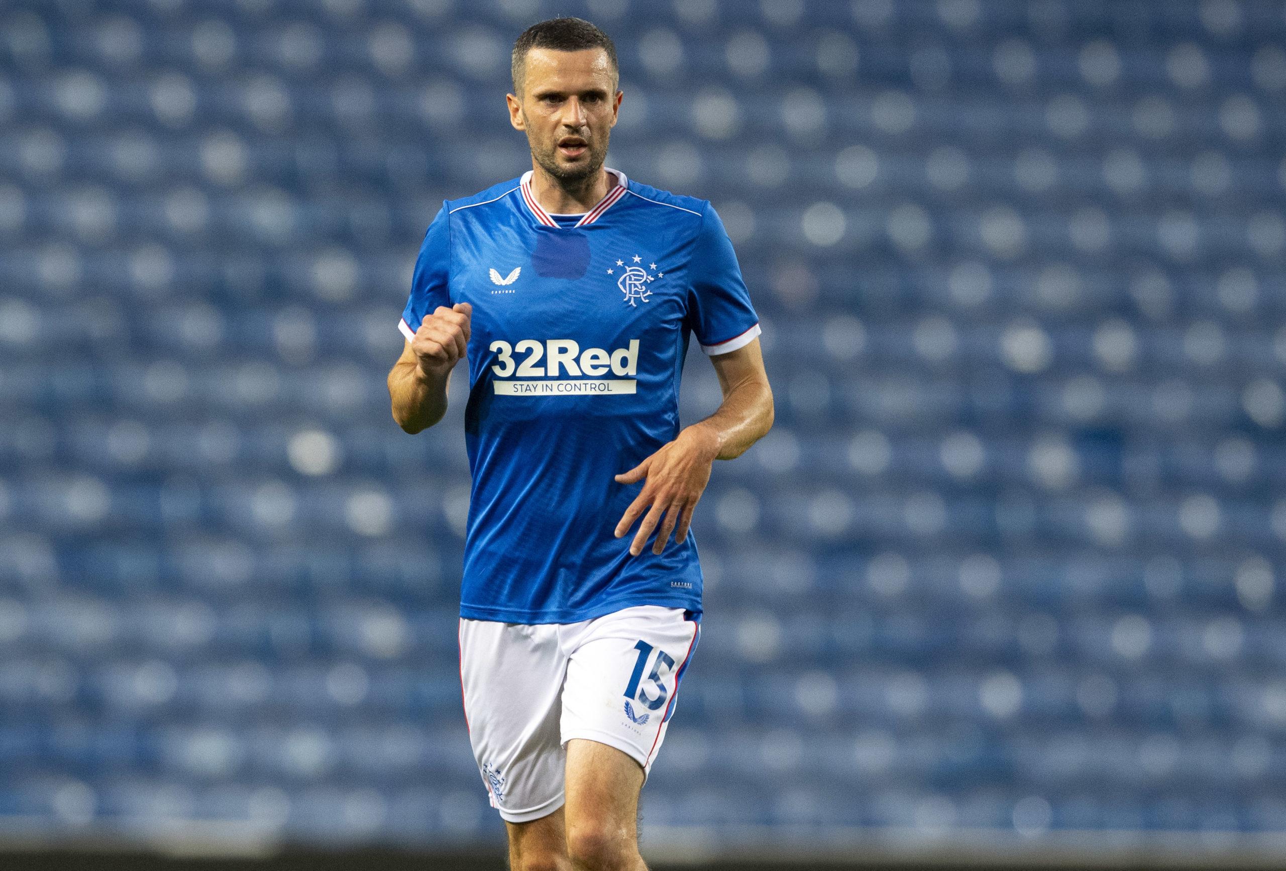 Jamie Murphy in pre-season action for Rangers.