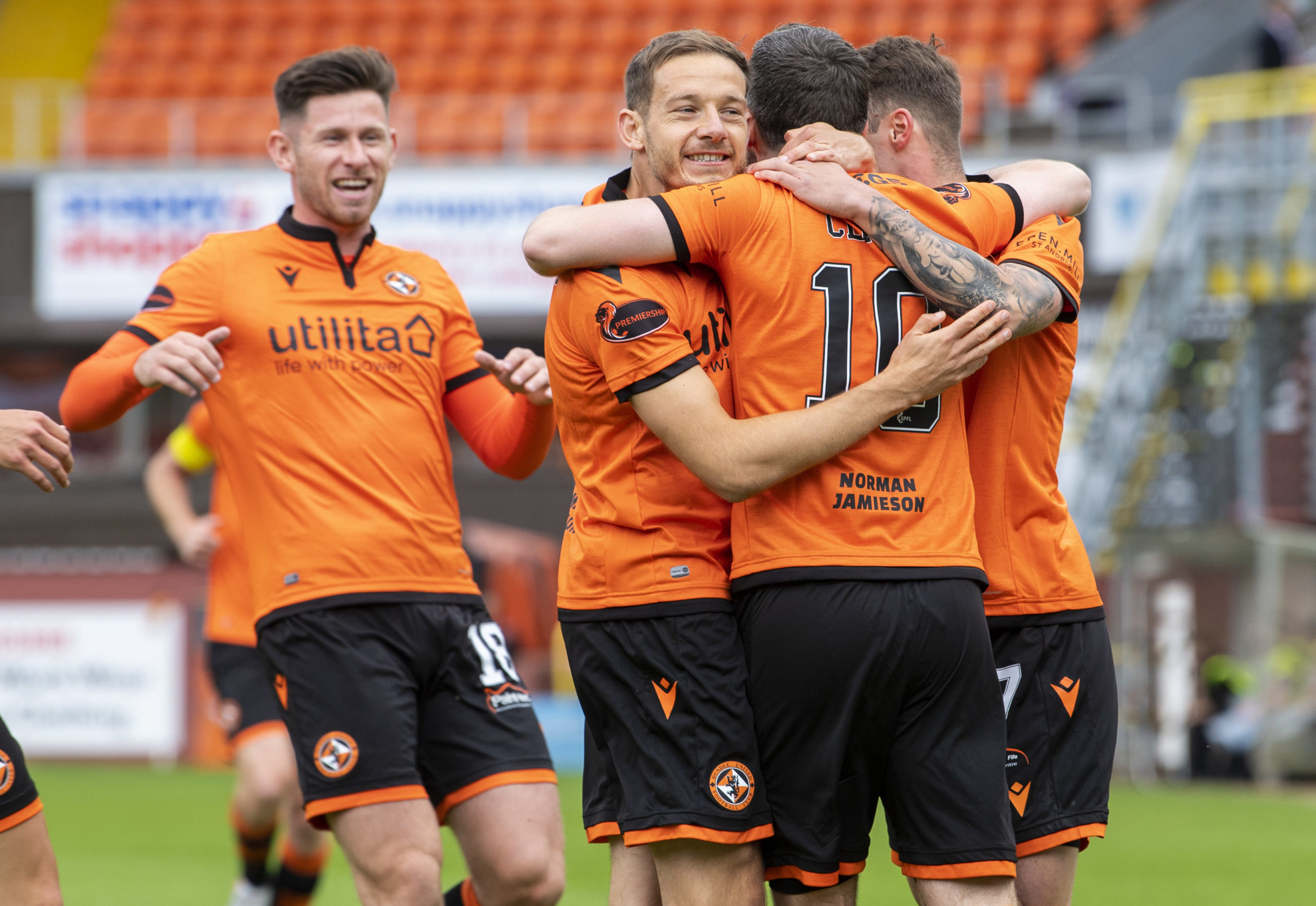 Dundee United's players celebrate Nicky Clark's opener during the Scottish Premiership match between Dundee United and St Johnstone at Tannadice.