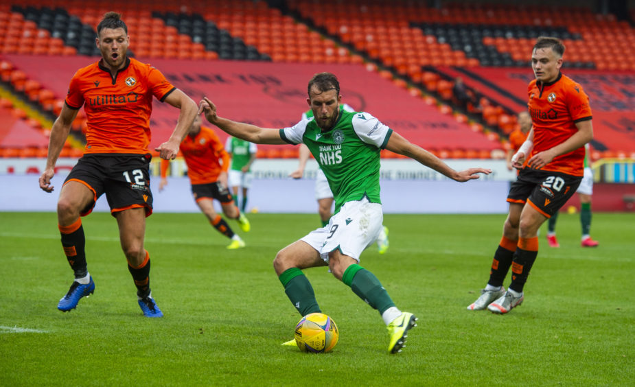 Christian Doidge fires home the winner for Hibs.