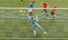 Nicke Kabamba heads home Killie's first goal.
