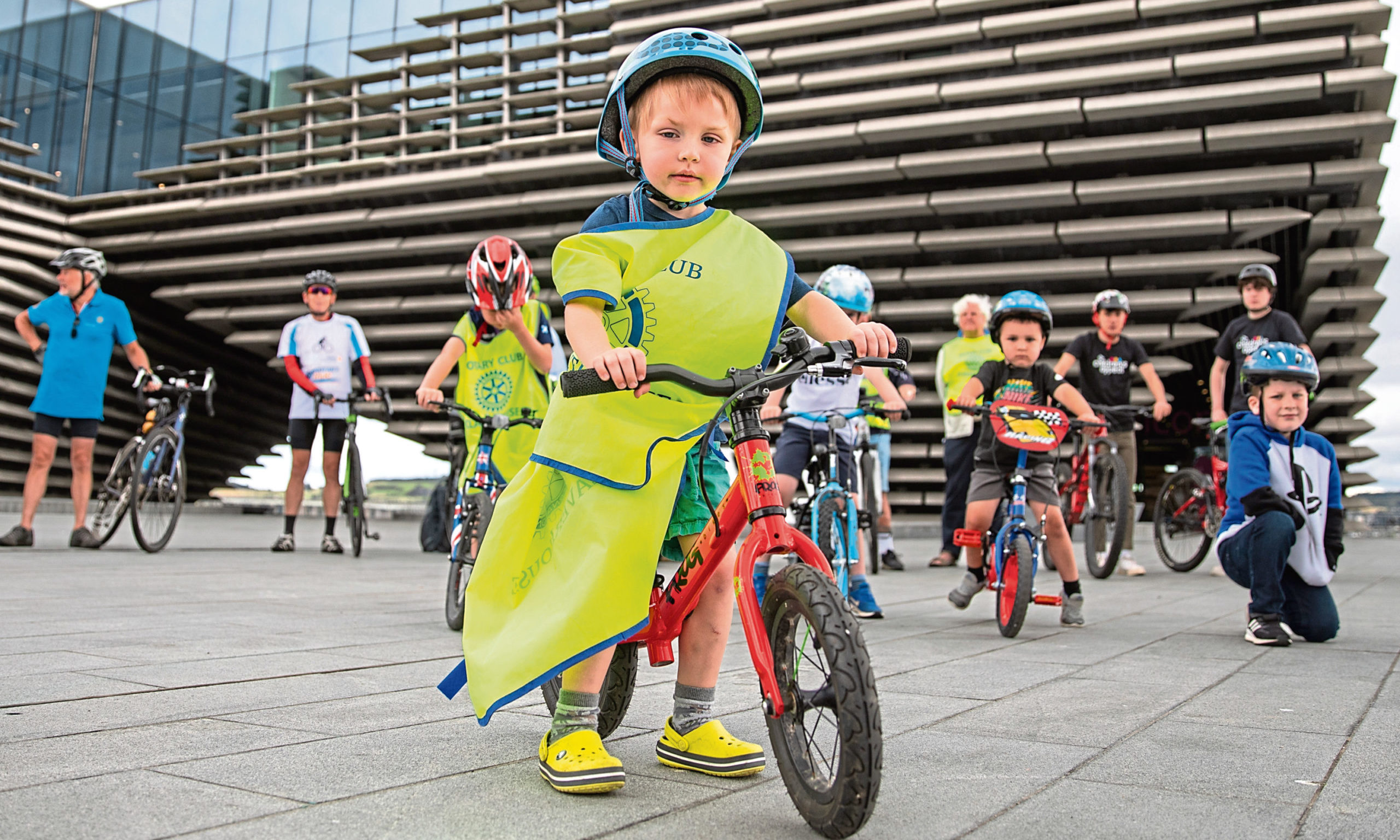 Alex Horner, 3, leads the pack, with other participants at the launch.