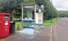 A damaged bus shelter at Apollo Way within the Dundee Technology Park.