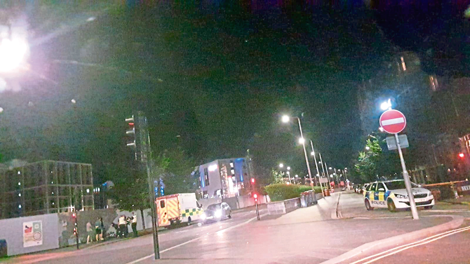 Emergency services at the incident.