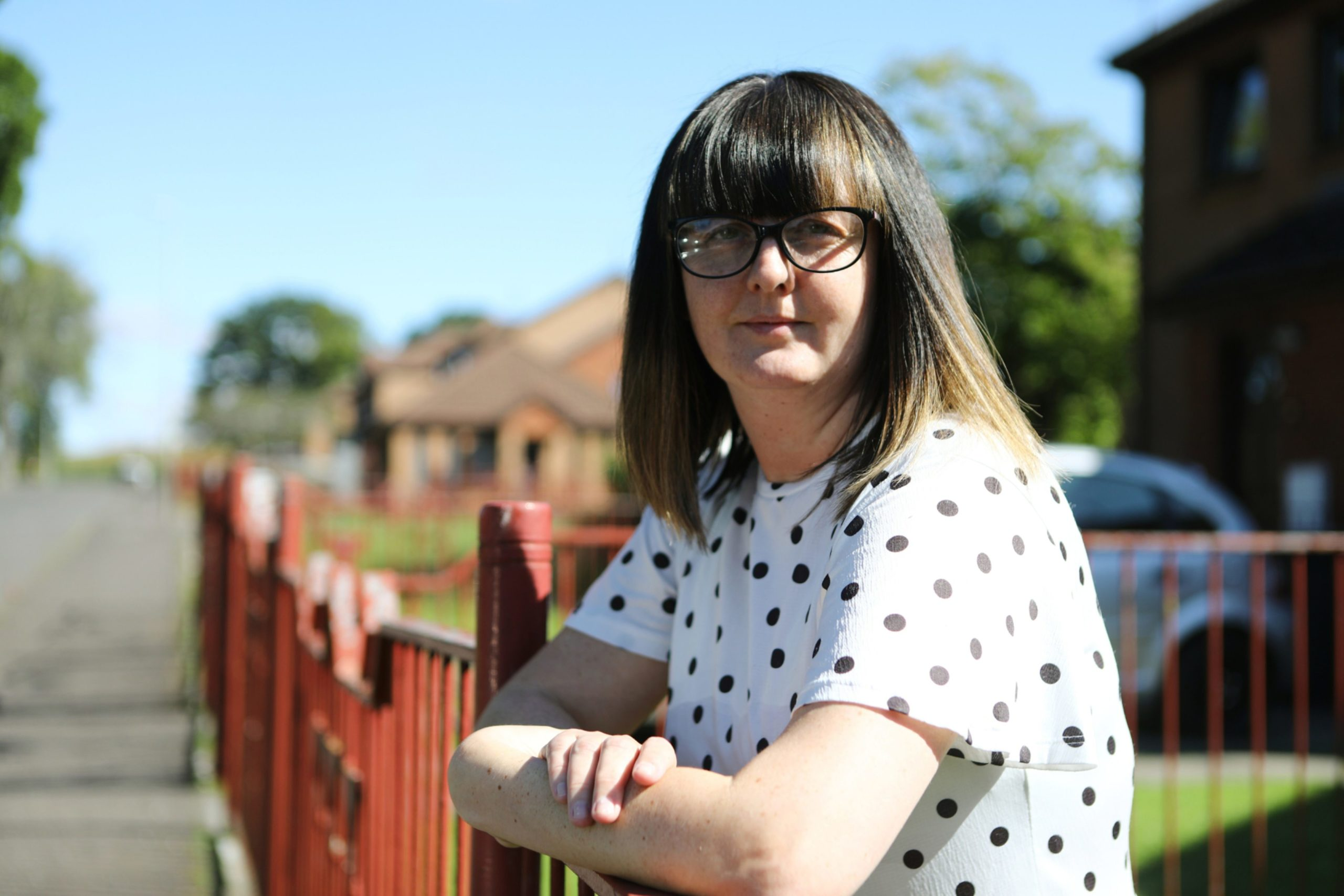Natalie Sturrock outside her home in Dundee today, where Sanctuary Housing sent someone from Aberdeen to fix her smoke alarm, with no warning, and despite a localised Covid-19 lockdown in the Granite City.