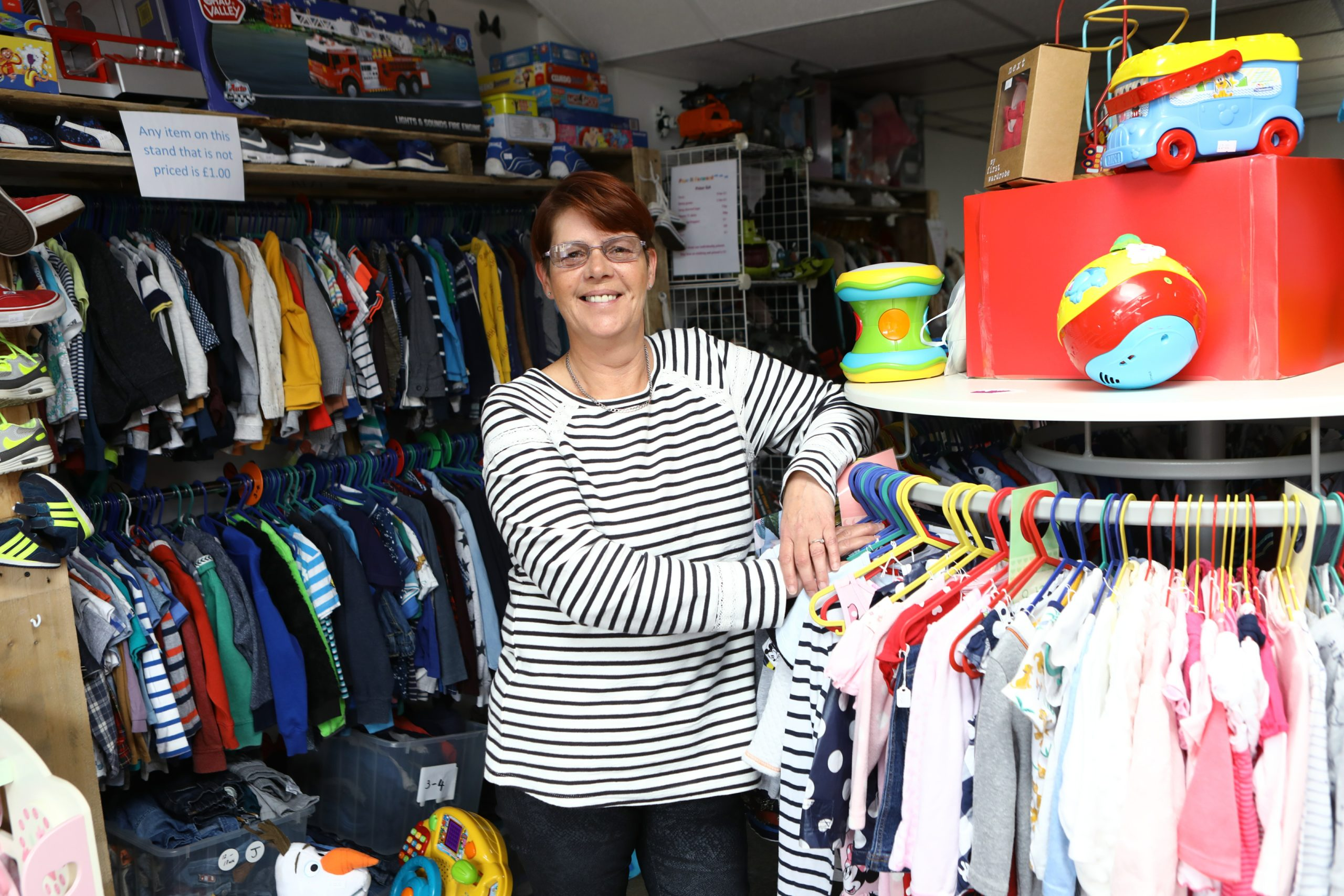 Karen Robertson in Pass It Forward, in Carnoustie today, a new shop selling on baby and children's items to help those in need (Picture: Dougie Nicolson / DCT Media.)