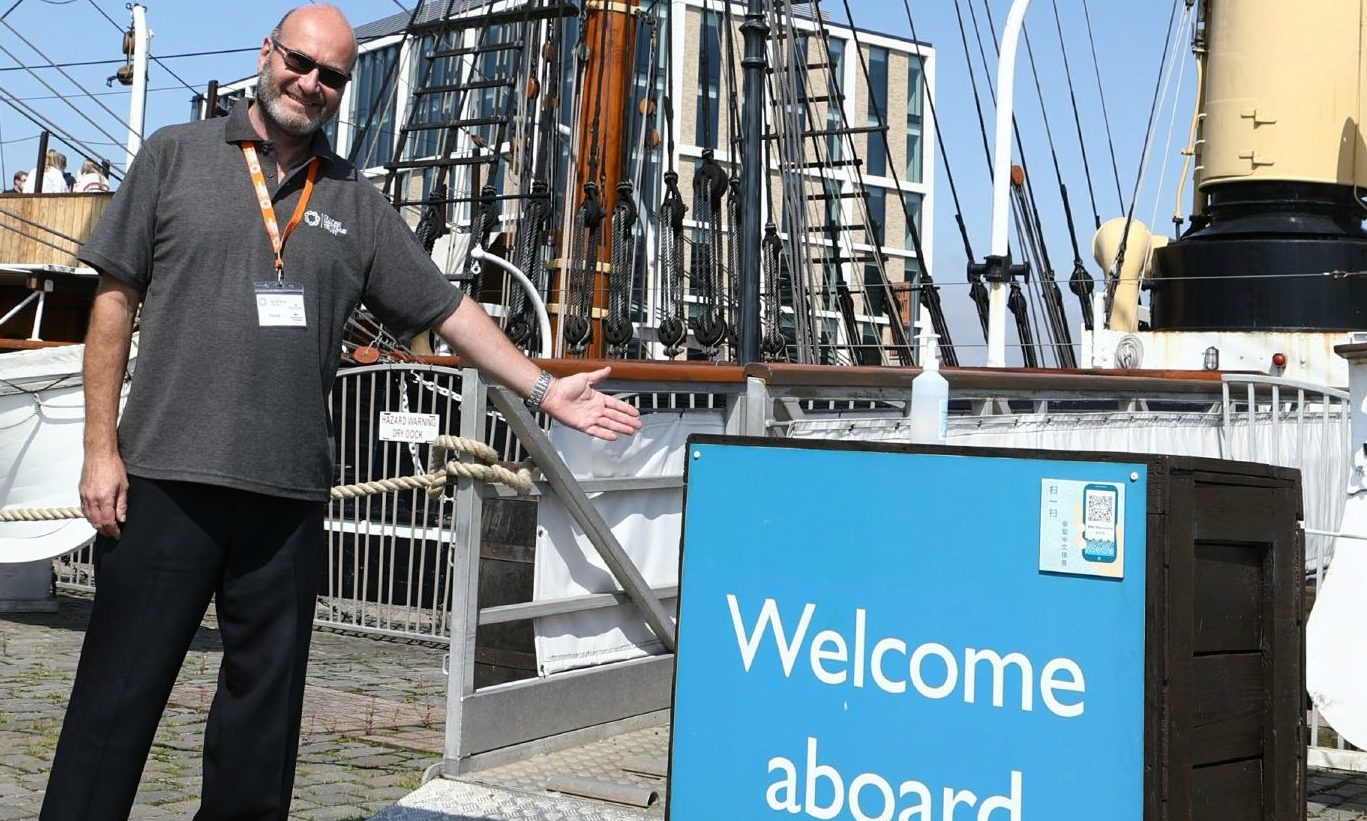 Visitor Assistant Derek Adams at RRS Discovery.