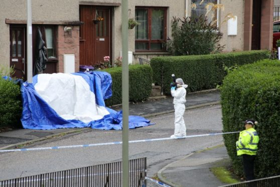 Police at the scene in Arbroath on Thursday.
