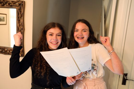 Craigie High school pupils Jill Dailly and Daisy Young were delighted with their exam results. (Picture: Gareth Jennings/ DCT Media)