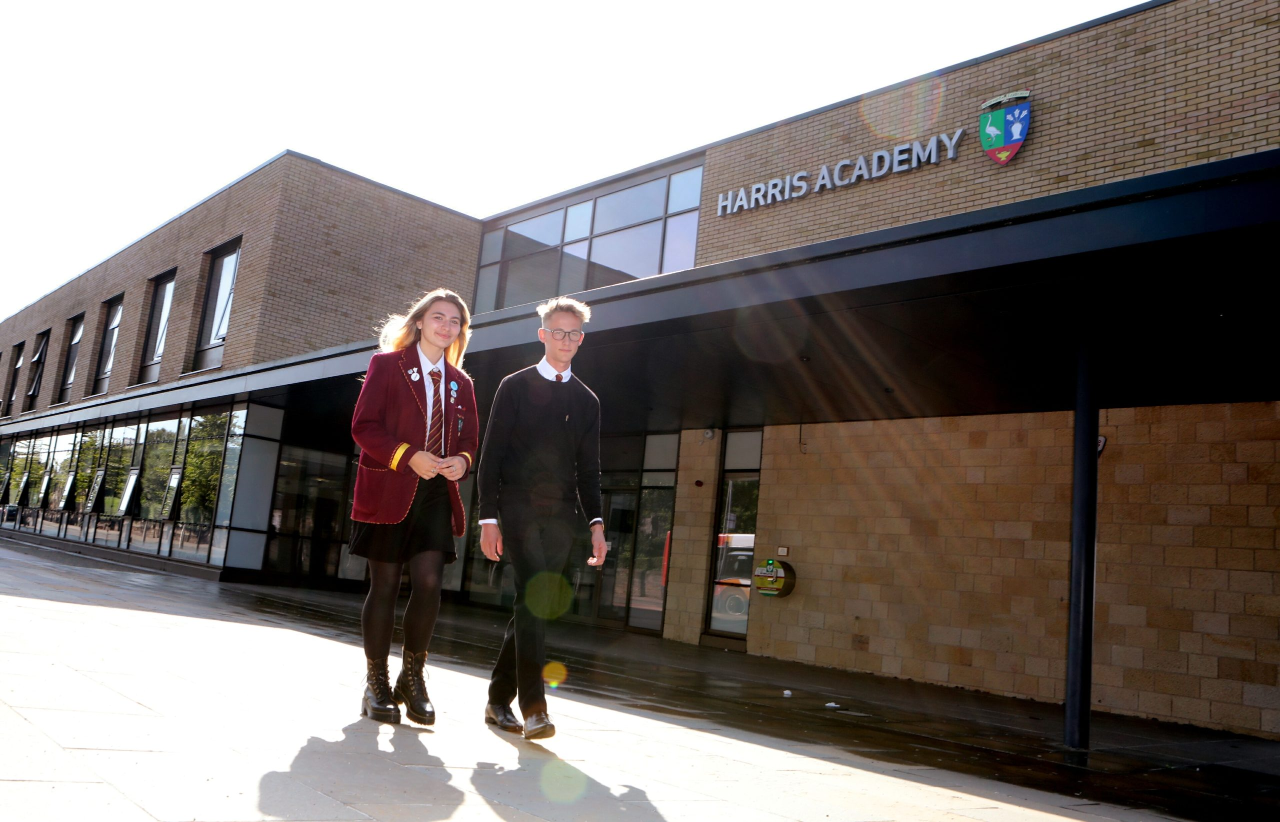 Harris Academy pupils Lucy Young and Jamie Cruickshank.