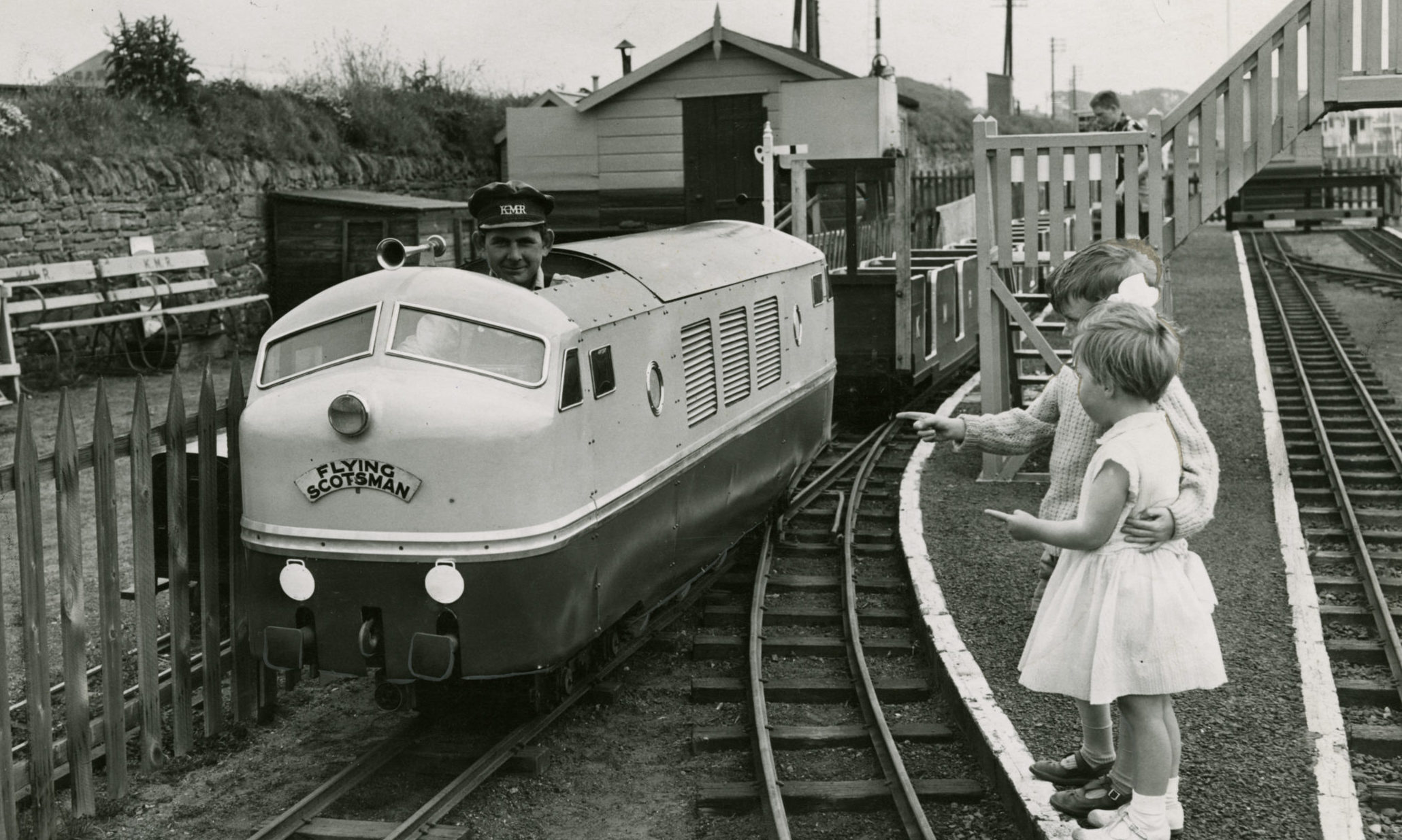 Douglas and Jennifer Payne, 9, get a close-up of the engine on the miniature railway at Arbroath in 1960.